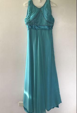 Sea blue beaded long formal gown