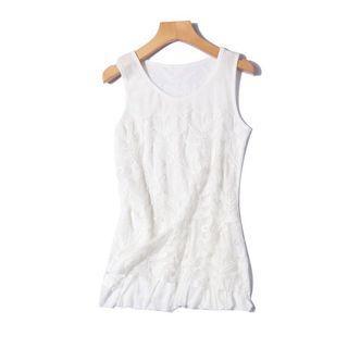 白色背心 蕾絲刺繡