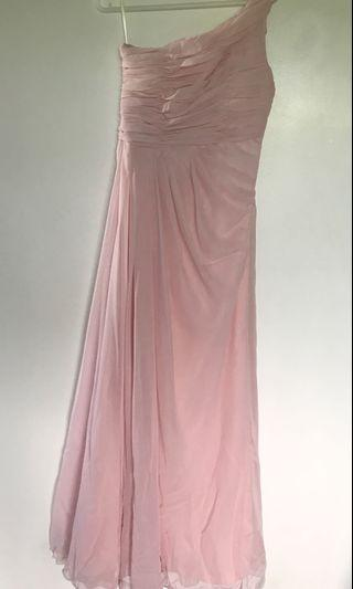 Baby pink one shoulder chiffon long gown