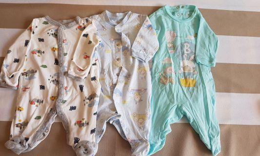 Newborn Baby Boy Sleepsuits (3 pieces)