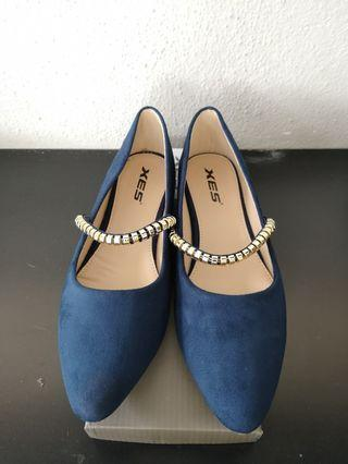 Blue suede Flats new