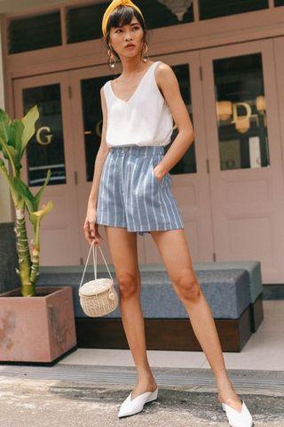 Fashmob Striped Linen Shorts in Blue