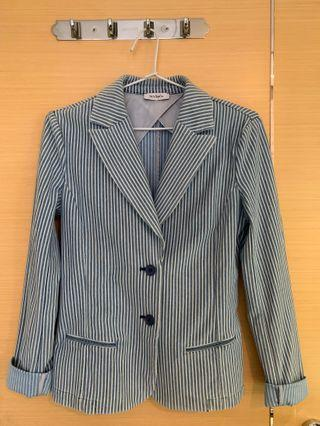 MAX&Co Smart Casual Blue/White Stripped Jacket