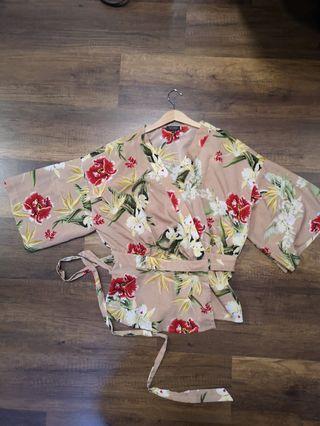 Floral self tie kimono wrap top