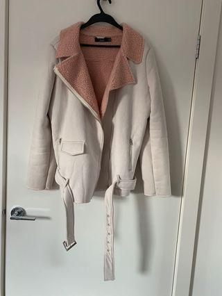 Pink and cream wool lined jacket