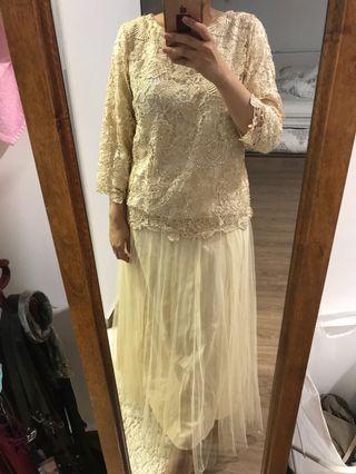 Baju Kurung Lace Gold Yellow Dress