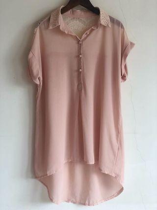 🚚 粉膚色 蕾絲 透視感 長版 前短後長 洋裝 襯衫