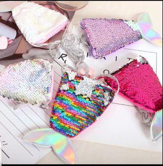 🚚 Little Mermaid Tail sequin princess sling bag pouch#Bus card #Ezlink Card pouch