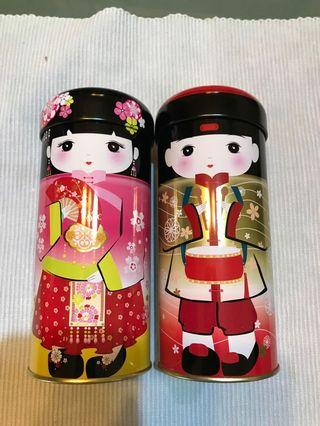 2pcs Japanese doll can tin