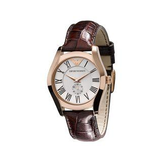 Emporio Armani Women's AR0678 Silver Dial Brown Leather Watch