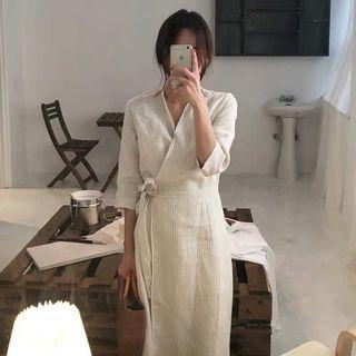 法式v領綁帶洋裝
