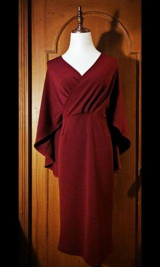Maroon red formal batwings cape dress