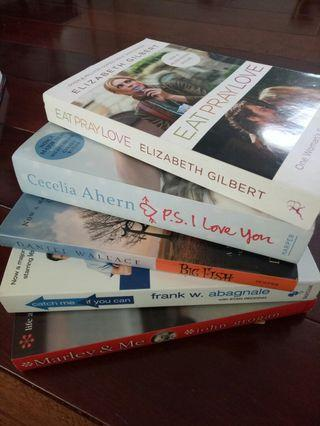 5 Novel Pack Eat Pray Love, P.S I Love You, Catch Me If You Can, Big Fish and Marley & Me