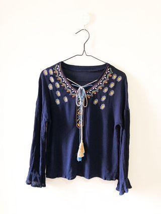 Embroidery Tassel Navy Top