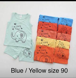 Children clothes brand new elephant singlet set with shorts pants boys clothes cotton