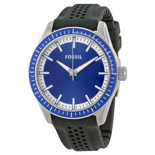 Fossil Blue Dial Black Silicone Strap Men's Watch BQ1271