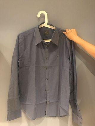 🚚 ARMANI EXCHANGE 男版藍色直條紋襯衫(正品)
