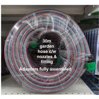 30m garden/water hose c/w nozzles+connector+fitting fully assembled.Brand New!