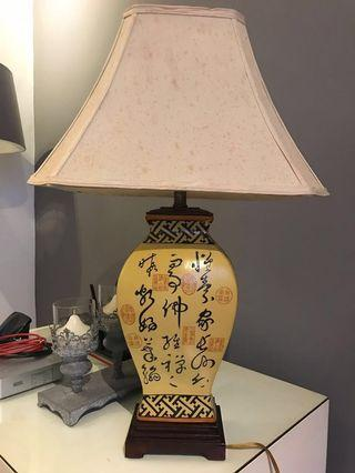 Chinese Calligraphy antiques table lamp