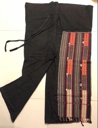 Traditional Baggy Pants with vintage fabric panelling