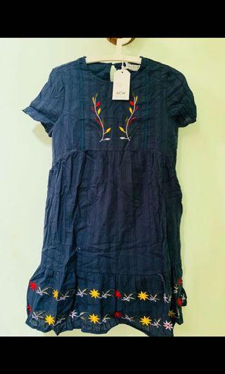 acw sleeved embroidery babydoll dress