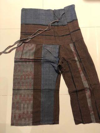 Traditional Baggy Pants with Vintage Fabric Paneling