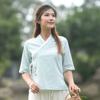 中國風漢服棉麻短袖上衣 / 花朵刺繡茶服改良旗袍中式上衣 / 包裹式上衣師姐造型古裝cosplay