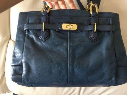 Coach Navy Bag 深藍色牛皮包
