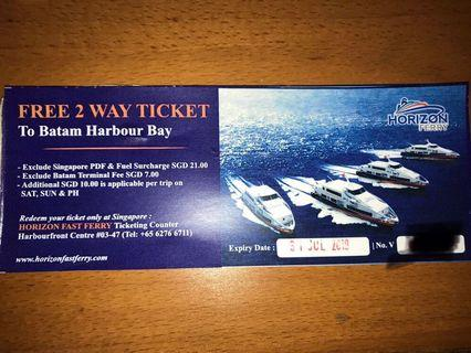 Batam Ferry 2 Way Ticket by Horizon Fast $2.50 for $20 value