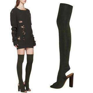 black thigh high peep toe heeled boot
