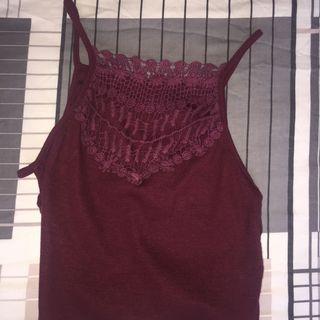 maroon crochet halter top