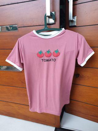 Trendy tomato round neck shirt
