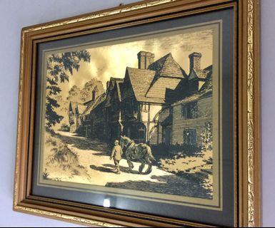 Vintage Gold Foil Art Work Print UK 27x22cms