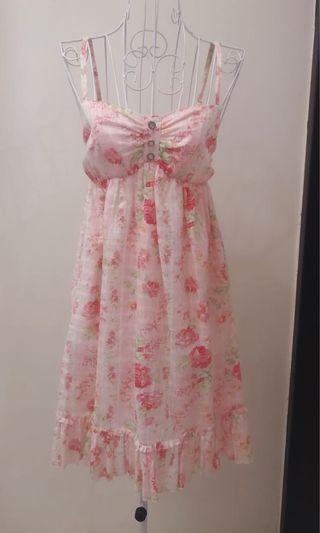 🚚 淡粉甜美風洋裝