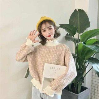 全新✨韓版木耳拼接高領燈籠袖衛衣