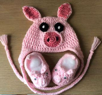 Crochet Piggy Hat & Booties (Baby Apparel Series #2)
