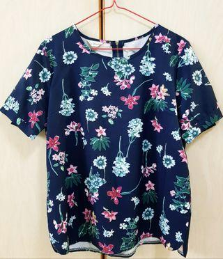 Navy blue floral top