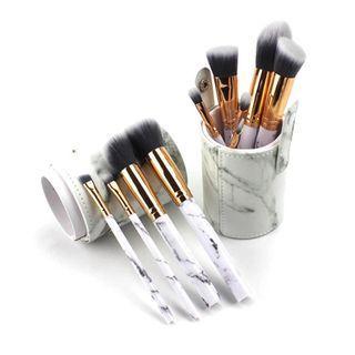 10Pcs Marble Designed Makeup Brushes Set Women Girls Travel