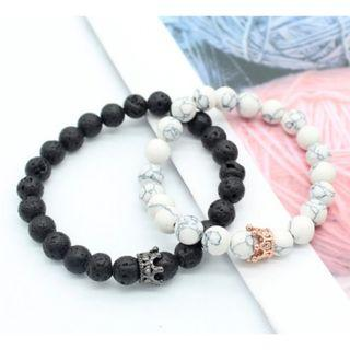King Queen Couple Lovers Stone Beads Bracelets His Hers Accessory Gift