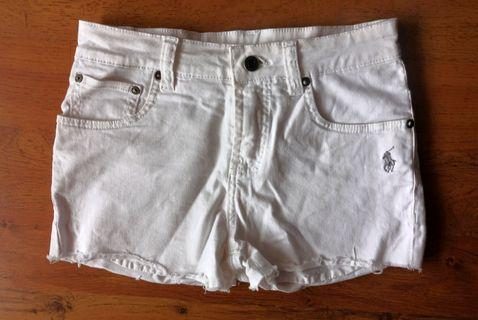 Polo Ralph Lauren White Ripped Denim Shorts
