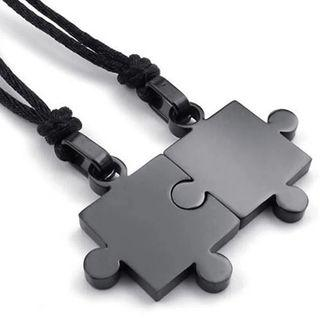 Matching Puzzle Couple Lovers Necklace Pair Puzzle Necklaces Jewelry