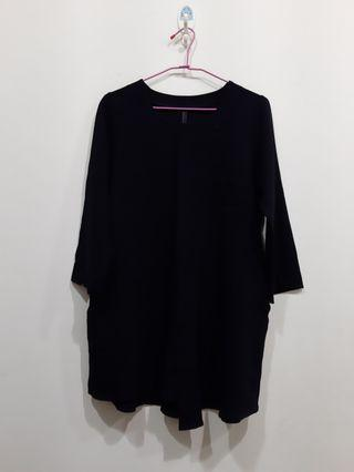 黑色不對稱韓系長版衣