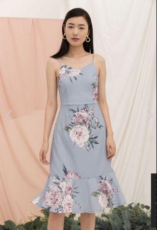 🚚 TSW Krystle floral midi dress in ash blue