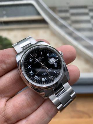 CHEAPEST!! Like New Warranty Rolex DateJust 34mm Midsize 115200 Roman Black Dial Oyster Bracelet