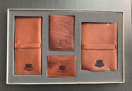School of Satchel leather set passport, checkbook, card, notebook
