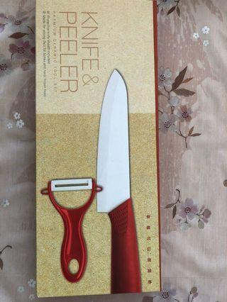 🚚 Ceramic chef knife and peeler