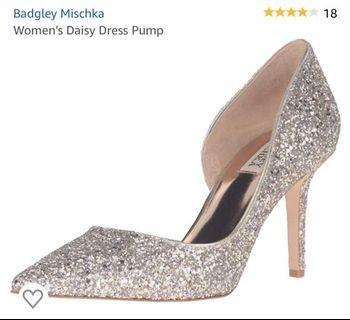 Badgley Mischka Daisy Dress Glitter Heels for wedding event photoshoot