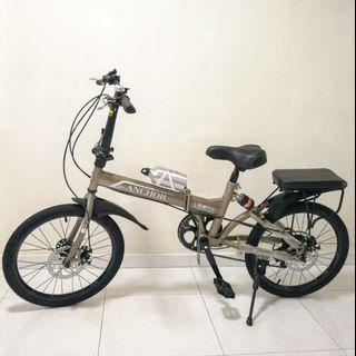 Foldable Bicycle with Shimano Gears in 7 Adjustible Speeds and Suspension. 20 Inch Folding Bike. Accessories Bundle.