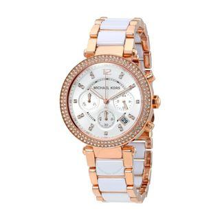 NEW Michael Kors Parker Chronograph White/Rose Gold Stainless Steel Ladies' Watch (MK5774)