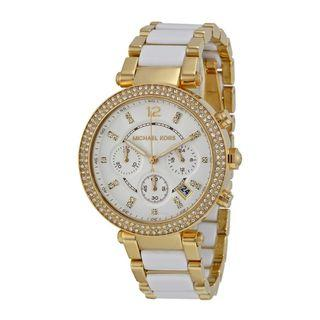 NEW Michael Kors Parker Chronograph White/Gold Stainless Steel Ladies' Watch (MK6119)